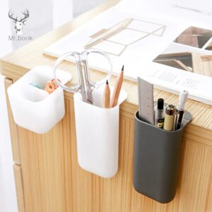 Pen Holder - White Gray On Desk Stationery