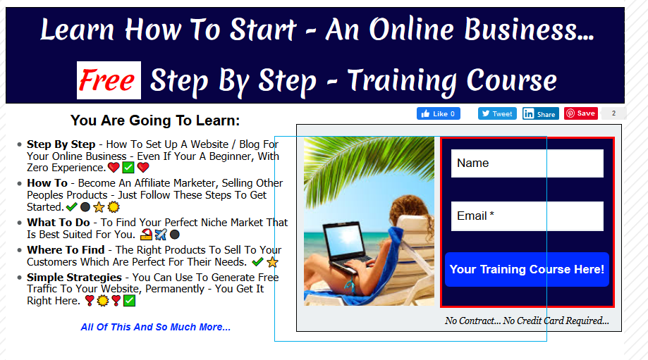 Landing page with bullet points to generate more leads online