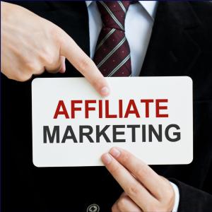 man holding affiliate marketing banner