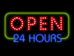 sign open 24 hours