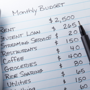 monthly budget written on paper