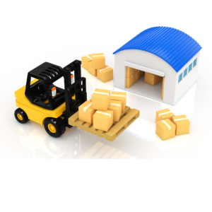 warehouse and forklift animated pic